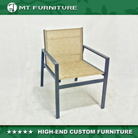 aluminum sling fabric garden dining chair