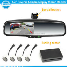 4.3 inch electric parking sensor rearview mirror with parking camera for ford ranger 2013