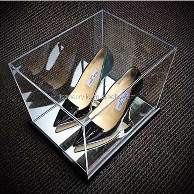 Mirrored with Wood Floor acrylic shoes display box