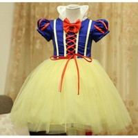 2015 new little princess Children girl snow white princess dresses for kids birthday dress costumes