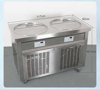 Free shipment factory price double pan fry ice machine flat pan frytop ice cream machine making ice cream roll