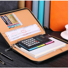PU leather A4 portfolio with zipper closed business portfolio with binder notebook Luxury Hardcover Folders New fashion