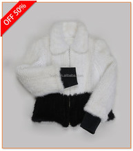 Factory supply white Winter Women short mink fur coat Mink Clothes Jacket coat