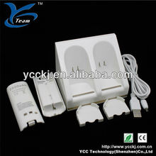 Factory price !Dual charging dock for wii remote blue light charger station with rechargerable battery