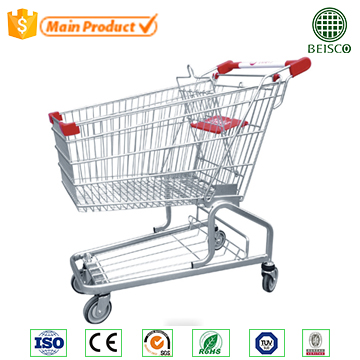 Facility hypermarket hand Germany shopping trolley with baby seat and wheels
