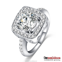 LZESHINE 18K White Gold Plated Brass Inlay Gemstone Engagement Wedding Ring Designs Anillos CRI0048-B