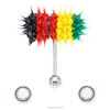 Custom Reusable Jamaican Flag Micro Vibrating Koosh Crazy Silicone Tongue Ring