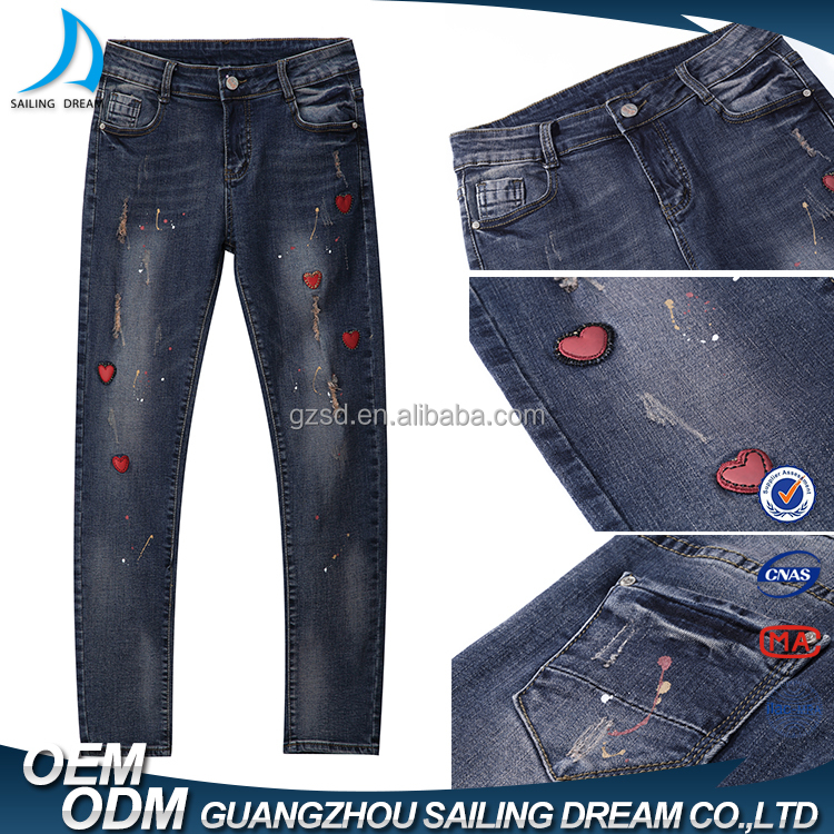 Latest design vintage red PU heart embroidery designs ladies jeans pants