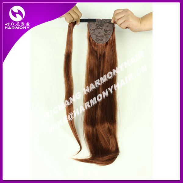 Stocks Double Drawn human hair drawstring ponytail/human hair ponytail/wrap around human hair ponytail
