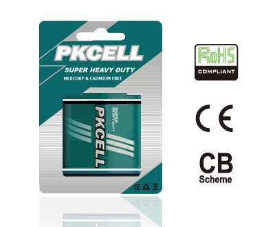 Shenzhen PKCELL high quality carbon zinc 4R25 battery 6v