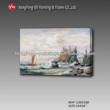 New classical seascapes sailing boat sea waves canvas handmade oil painting