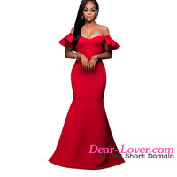 Cheap Sexy Gorgeous Ruffle Accent Hot Red Carpet Ball Gown Prom Dresses