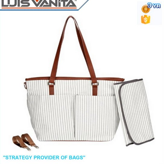 White and Grey Canvas Stripe Trendy Diaper Bags with Changing Mat