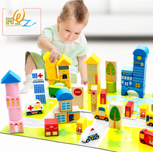 62pcs/set wooden vehicle blocks City Plane Parking thomas Train track Traffic Combination Scene Vehicle Set