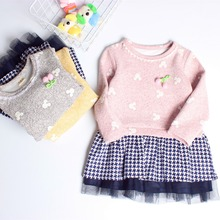 ZH02291B 2016 latest children frocks designs girl's winter floral dress baby dress