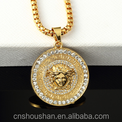 High quality fashion gold plated round head necklace for men