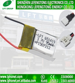 Upower 20C 3.7v 90mah 95mah polymer lithium battery for mini RC helicopter 6.5*14*19mm