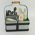 Metal 4 compartment cutlery Utensil, Flatware cutlery caddy holder with wooden handle F0212