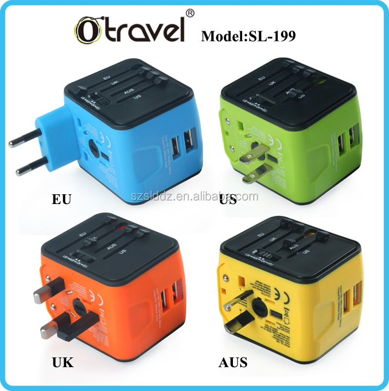 2017 Top Selling usb Multi Swiss Travel Adaptor SL-199U SL-199D with CE & ROHS & UL certification