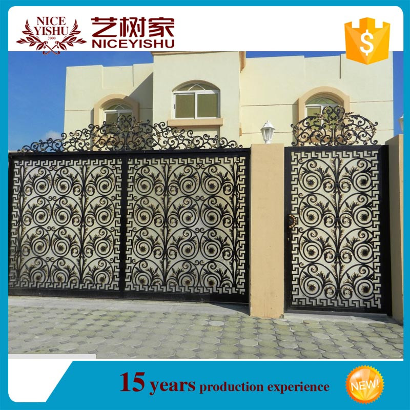 Luxury big sliding double single wrought iron gate house for Single gate designs for homes