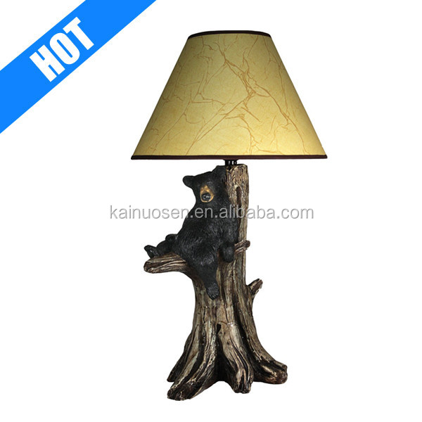 handmade painted decorative polyresin bear table lamps for sale