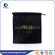 Promotional small black non woven drawstring bags with gold logo for shoes