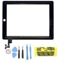 Top Quality black white Touch Panel Display Touch Screen Glass Digitizer replacement + 3M Adhesive+ free tools for iPad 2