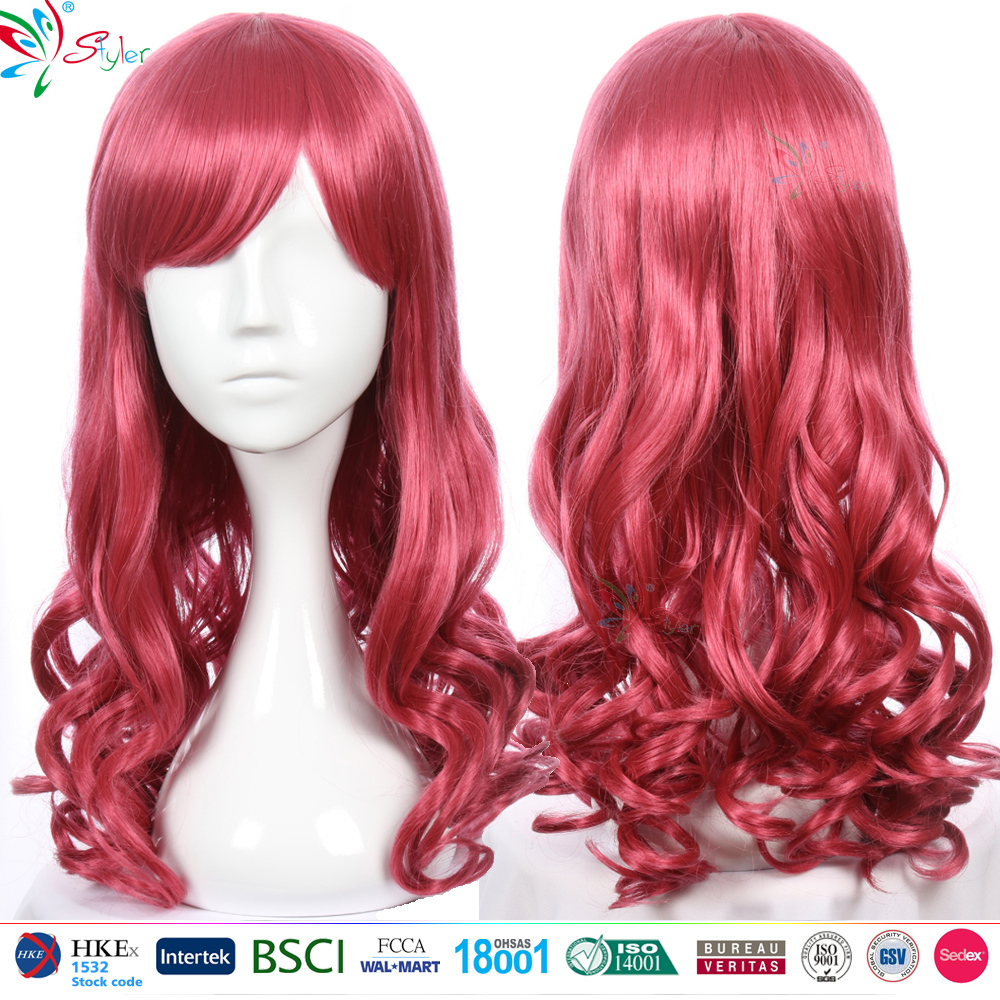 attractive women red highlights curly synthetic hair cosplay anime wigs