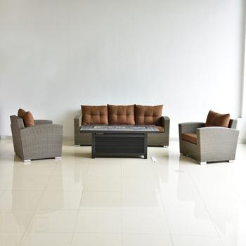 fashionable garden furniture rattan sofa set aluminum rectangle fire pit burner - Garden Furniture Sofa Sets