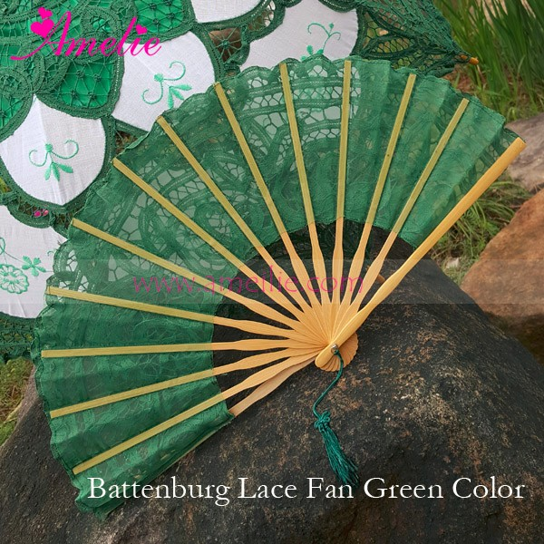 Vintage Spring Wedding Handicraft Zhenjiang Battenburg Lace Fans