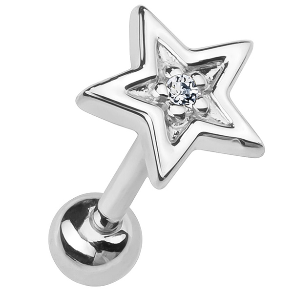Surgical Steel Tragus Helix Cartilage Bar Stud with Gemmed Star Top