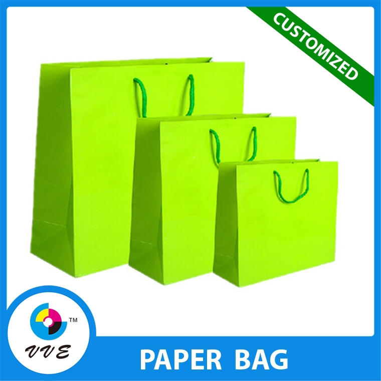 Custom Made Green Art Paper Bag Luxury Paper Shopping Gift Bag With Handle