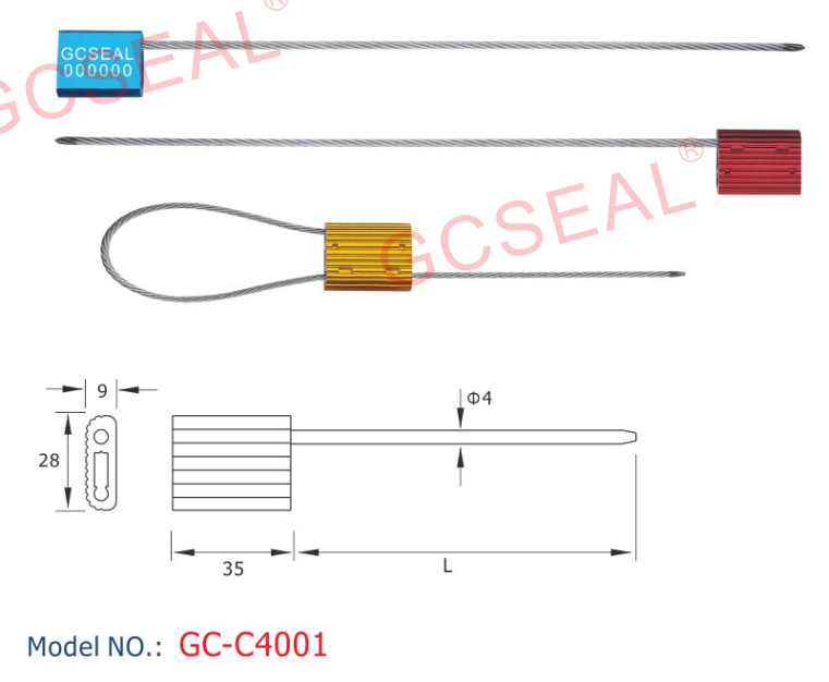 ISO 17712 Security Seal GC-C4001 with 4.0mm Diameter steel wire cable