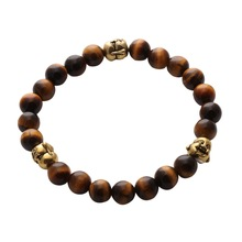 Newest design 2016 antique bronze Buddha beads with tiger eye natural stone bead bracelet men