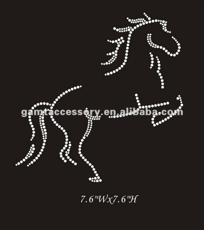 horse hot fix rhinestone iron on transfer design for apparel
