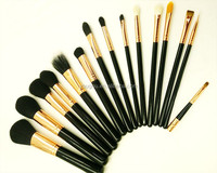 handmade natural synthetic hair black makeup brush set 15pcs design fine quality