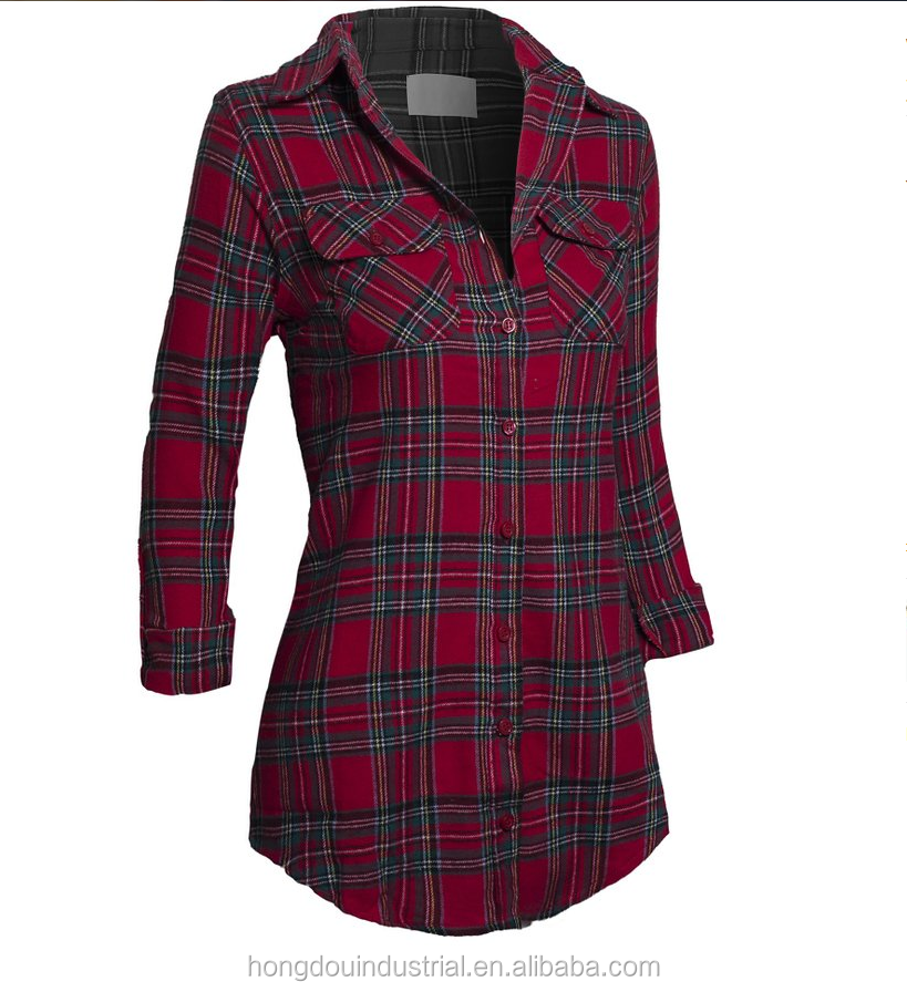 HOTSALE WOMEN'S RED AND BLACK PLAIDS SHIRT LADY'S BLOUSE
