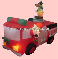 240cmL/8ft Christmas inflatable Santa on fire engine