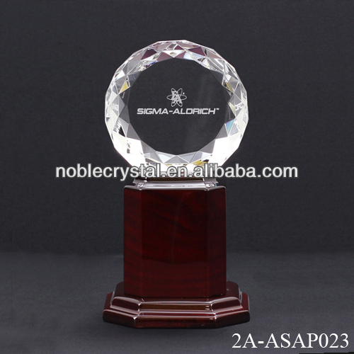 Crystal Diamond Trophy With Wooden Base