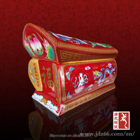 Red glaze pigments ceramic long coffin casket for funeral made in Jingdezhen
