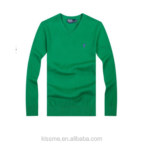 Hot Selling adults v-neck plain long sleeves men's crocheting knitwear