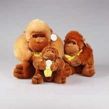 wholesale brown plush baby gorilla toys stuffed soft monkey animals with bananas
