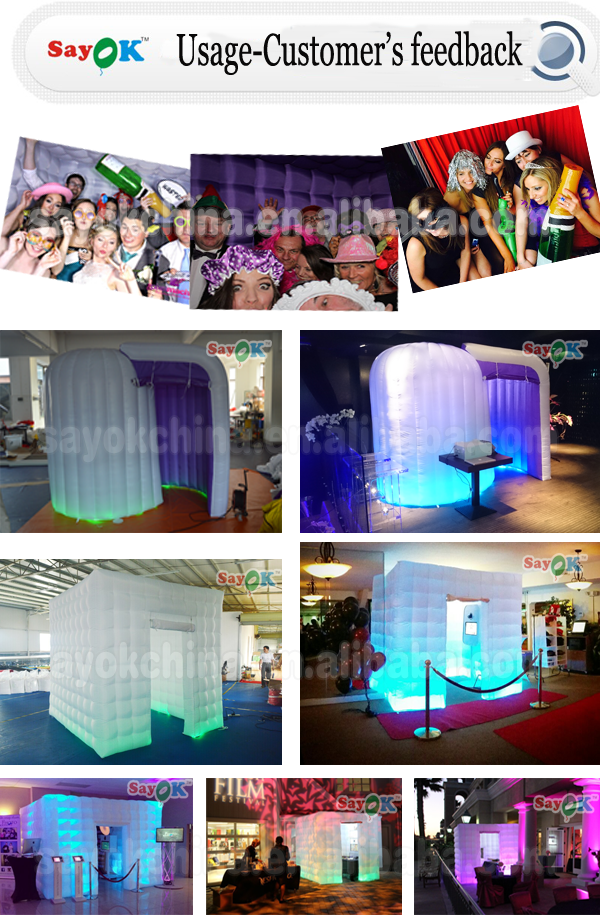 2 doors portable waterproof wedding party event cube inflatable photo booth enclosure shell with led