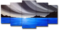 Blue ocean waves oil painting