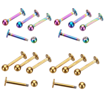 Surgical steel jewelry high quality polished anodized labret lip rings