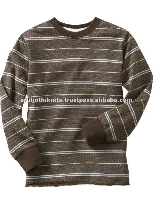 MENS STRIPED LONG SLEEVE T SHIRT WITH ELASTICATED RIB UFFS