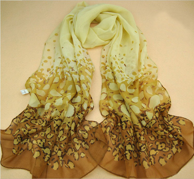 orange leopard printed silk chiffon scarf