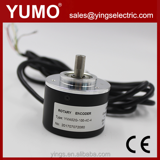 YUMO Rotary encoder 100ppr,rotary solid shaft encoder shaft size 8mm