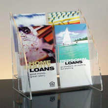 Clear 4 compartments PMMA brochure display holder plexiglass brochure display rack acrylic brochure display