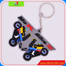 Custom Colourful soft rubber 2D plastic motorcycle/motorbike keychain,3D PVC keychain